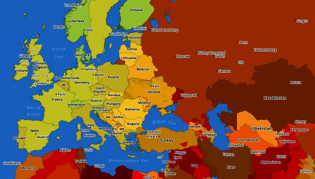 Карта уровней физических угроз и рисков по странам и регионам Европы